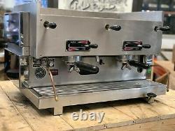 La San Marco 75 Mp Manual Paddle 2 Group Espresso Coffee Machine Restaurant Cafe