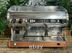 San Marino Lisa 2 Group Chrome Brass Base Espresso Coffee Machine Commercial