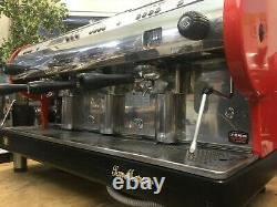 San Marino Lisa R 3 Group Red Espresso Coffee Machine Commercial Cafe Barista