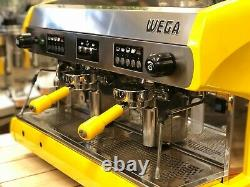 Wega Polaris 2 Group Yellow Espresso Coffee Machine Commercial Cafe Barista Cart