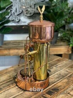 Elektra Micro Casa Semi Automatica 1 Groupe Or Bronze Espresso Machine À Café